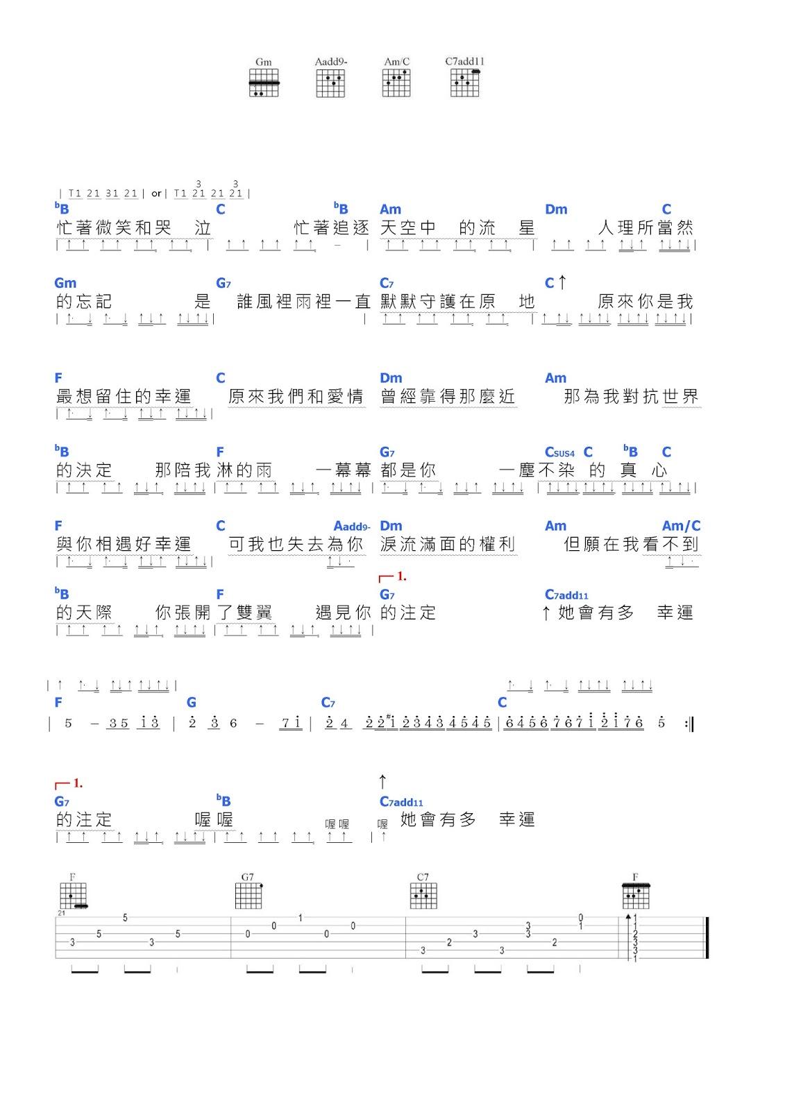 田馥甄 - 小幸運》吉他譜   六線譜的舞者《不老吉他社吉他譜分享》