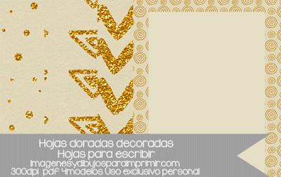 Hojas doradas decoradas para imprimir y escribir