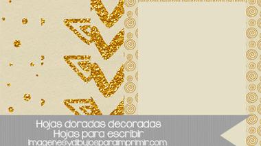 Hojas decoradas en dorado para imprimir y escribir
