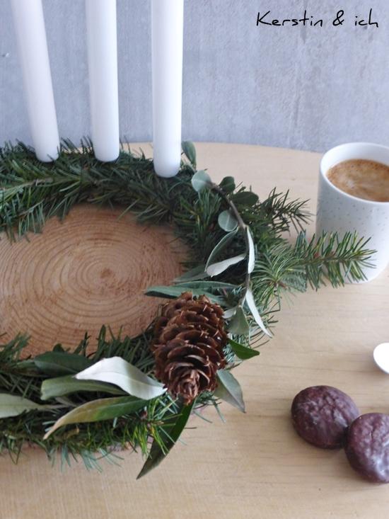 DIY Adventskranz schlicht Olivenzweige