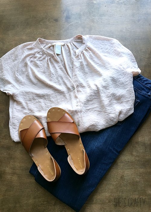 nude blouse, skinny jeans, brown sandals from Target