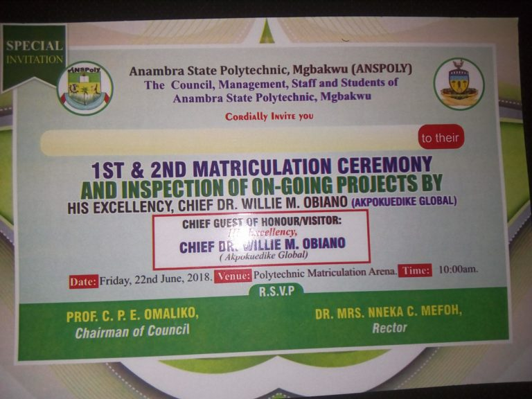 Anambra State Polytechnic 1st & 2nd Matriculation Ceremony