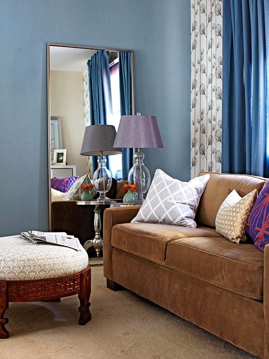 Decorando por ai: Azul e marrom na sala de estar!