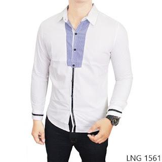 Guys Stretch Shirt, Putih, Stretch, M-L