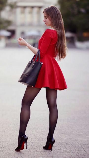 Red-dress-black-Tights