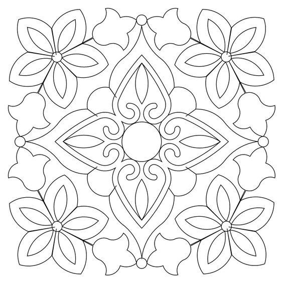 Tranh tô màu trang trí hình vuông họa tiết hoa lá