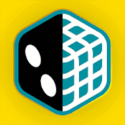 The Dized logo: a yellow background with a six-sided die outlined in blue, the left half of which is a normal black die, and the right half of which appears to be a cut-away to reveal a white cubical frame that is supposedly supporting the die.