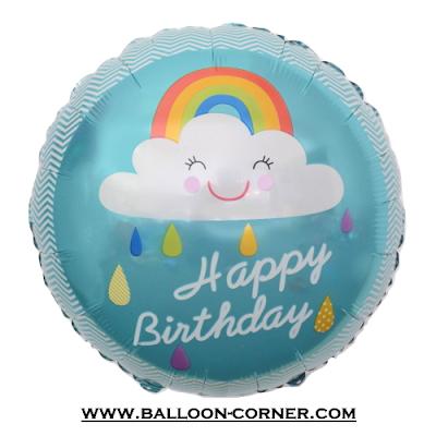 Balon Foil Bulat HAPPY BIRTHDAY Motif Awan Smile Pelangi Biru