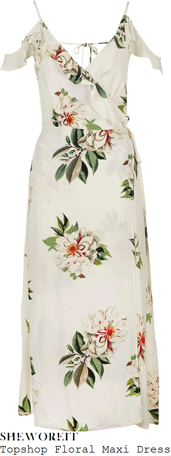 vicky-pattison-topshop-cream-green-and-red-floral-print-cold-shoulder-ruffle-detail-wrap-front-midi-dress