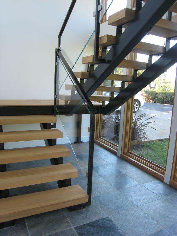 Interior Glass Stair Railing, Glass Clamps • OT Glass