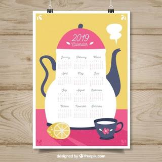 Bonito calendario 2019 en diseño plano Vector Gratis