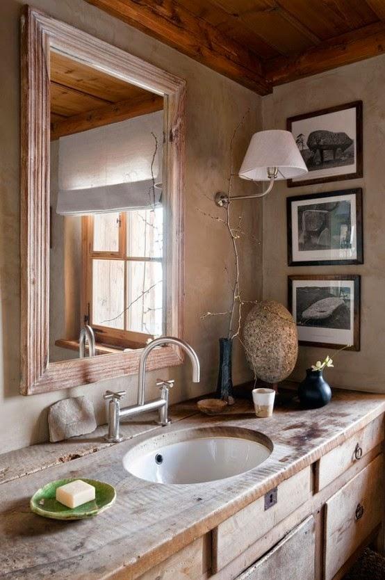 Baños Rusticos Campestres:Los elementos naturales como plantas y piedras son perfectos para