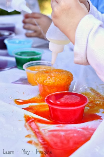 How to make rainbow eruptions - colorful science for kids!