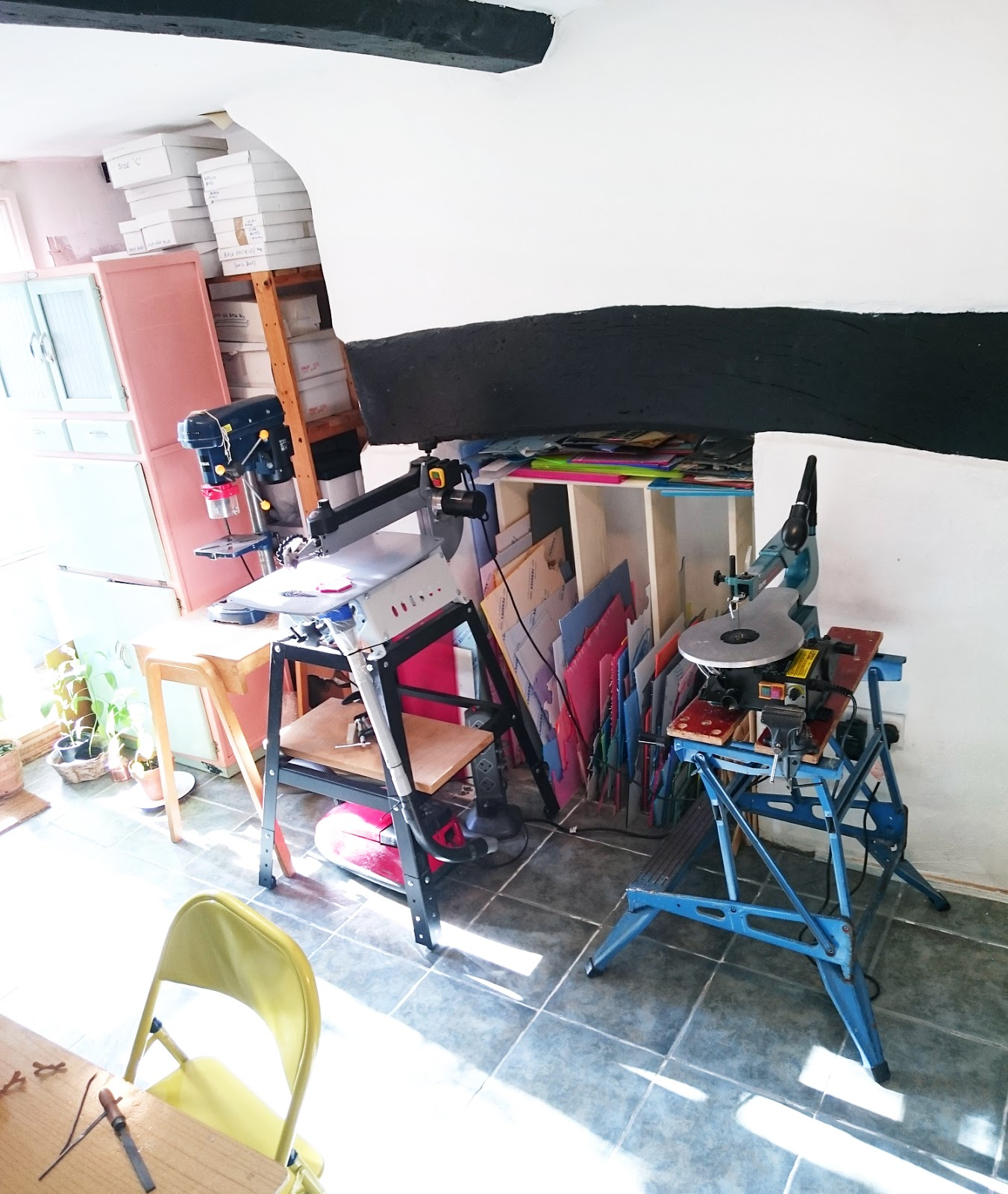 Tools of the trade: I Am Acrylic's sunny studio includes saws, drills and hand tools to make their jewellery, as well as lots of colourful acrylic sheets too, of course!