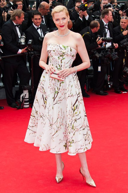 Nadja Auermann in a floral print Dolce & Gabbana dress at Cannes 2014