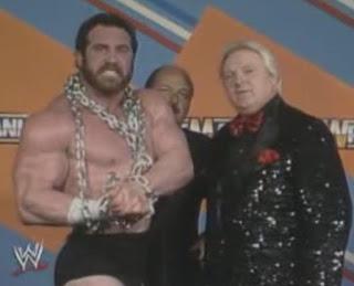 WWF / WWE WRESTLEMANIA 3 - Hercules cuts a pre-match promo with Bobby Heenan