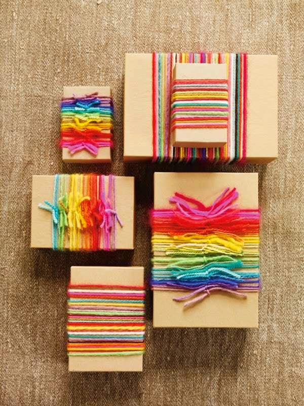 Yarn scrap ideas - colorful gift wrap decor