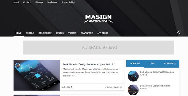 Masign Andromeda Responsive Blogger Templates