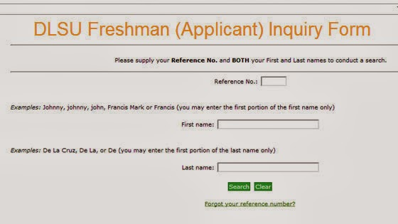 Image: DLSU Freshman (Applicant) Inquiry Form