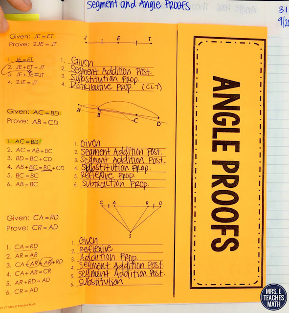 These interactive notebook pages are perfect for geometry proofs!  I always need more examples and activities for my algebraic proofs and segment and angles proofs notes.