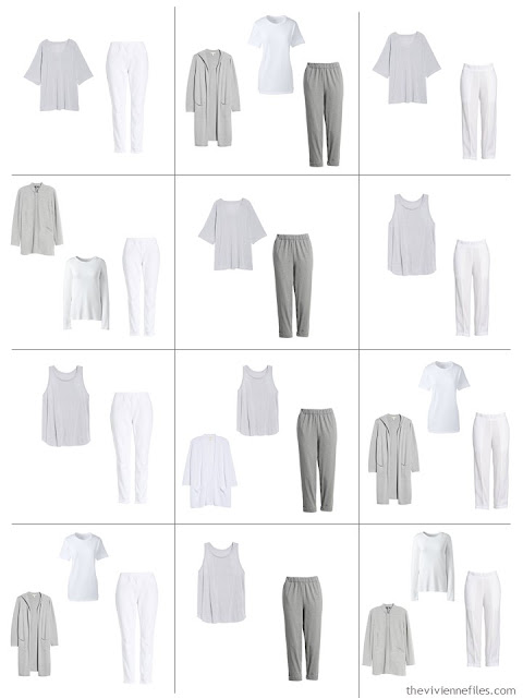 12 outfits from a 10-piece Common Wardrobe in grey and white