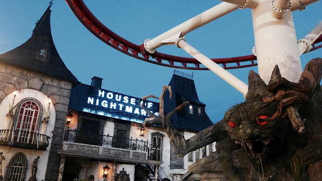 Photo of House of Nightmares Entrance and Coaster Track at Grona Lund