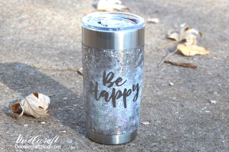 Be Happy glitter stainless steel tumbler great for gifts
