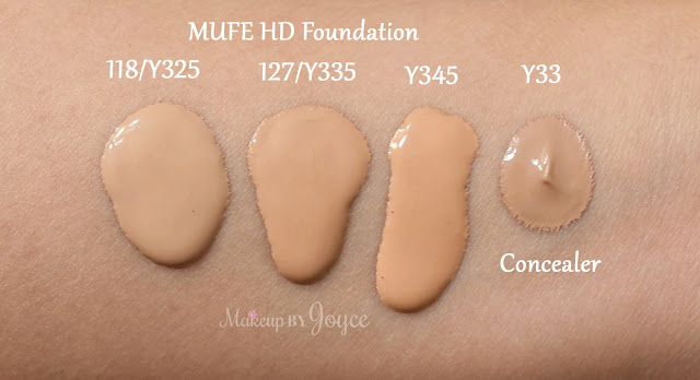 Makeup Forever Ultra HD Foundation 127 Y335 118 Y325 Swatches