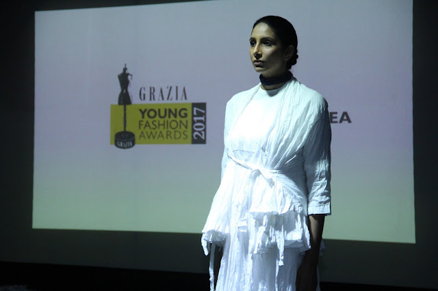 Grazia Young Fashion Awards winner under Label Alert category - Mogachea - displays its collection