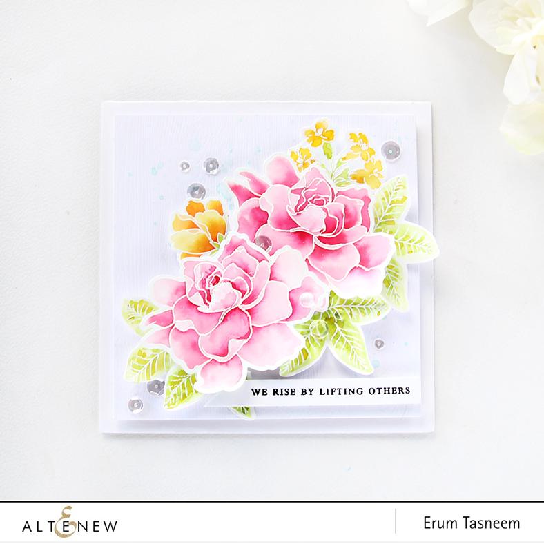 Altenew Build-A-Flower Gardenia | Peony Bouquet | Coral Charm | Watercoloured with Liquid Watercolours | Erum Tasneem | @pr0digy0