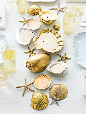 entertaining with seashell candles