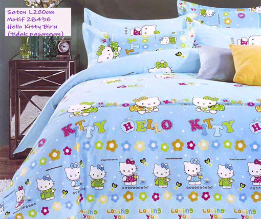 Sprei Anak Motif Hello Kitty Biru