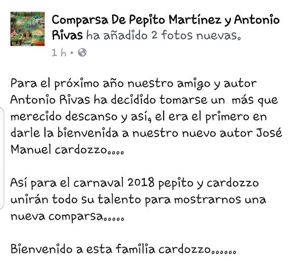 La Comparsa de Pepito Martínez anuncia cambio en la autoría