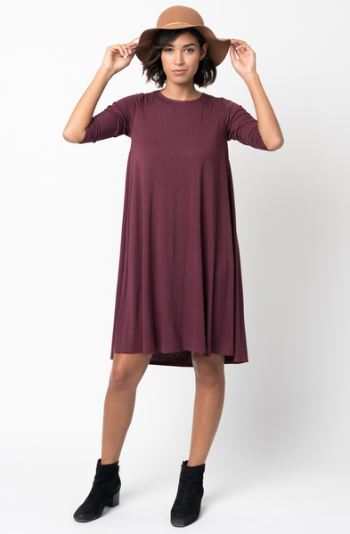 Shop for Red Brown Shirred Back Midi 3/4 sleeve jersey dress crew neck online on caralase.com