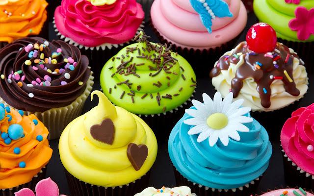Cupcakes in diverse kleuren