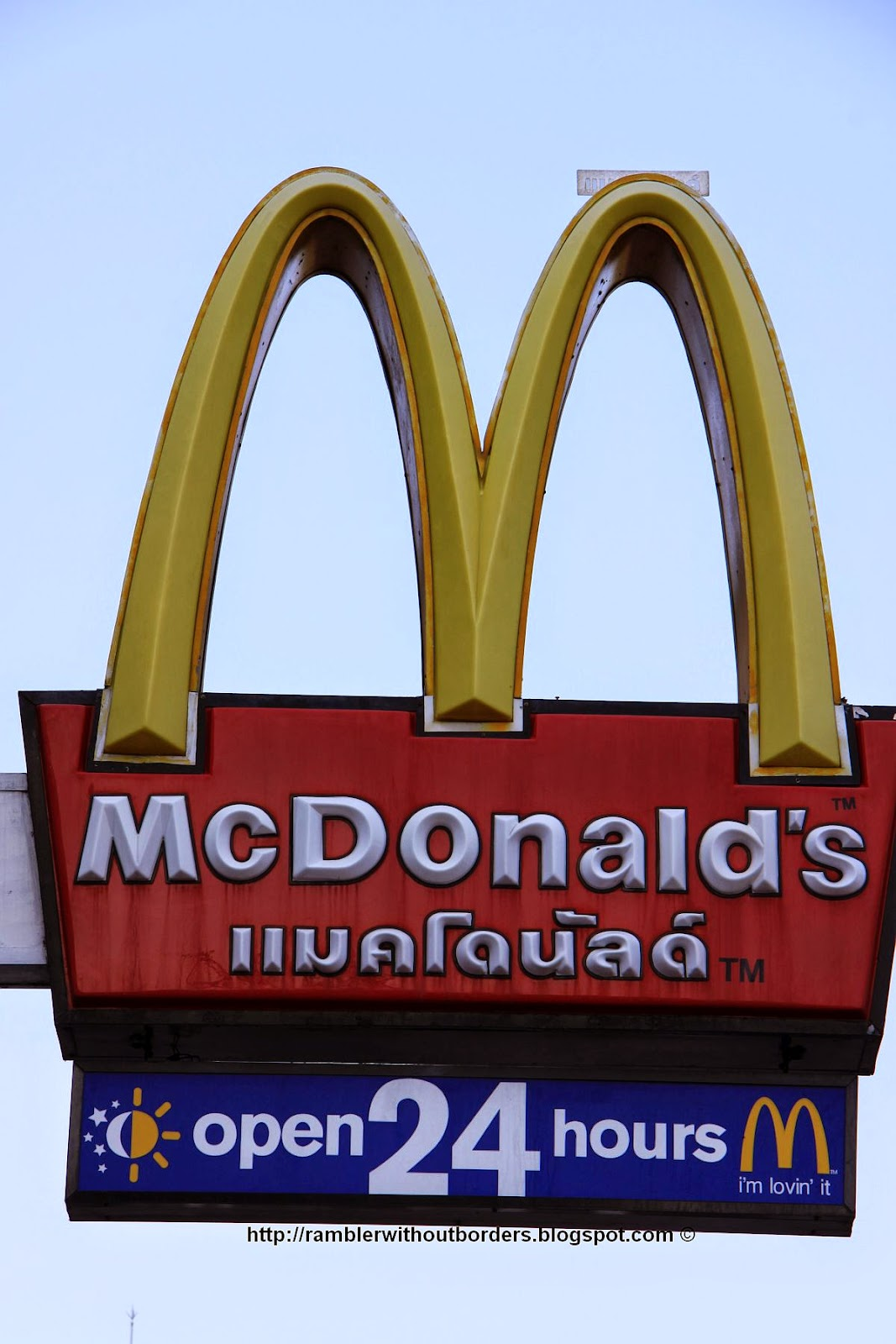 Mcdonald fastfood restaurant open 24 hours sign, Thailand