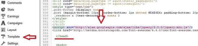 Add jQuery Library link, Sticky Sidebar Widget in Blogger, Floating Blogger Sidebar Widget, Make Fixed Sidebar Widget