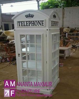 lemari pakaian klasik model telephone warna putih