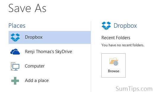 Dropbox in Office 2013