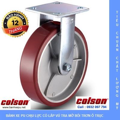 Bánh xe PU càng cố định 8 inch Colson Mỹ chịu lực 680kg | 6-8278-939 banhxedayhang.net