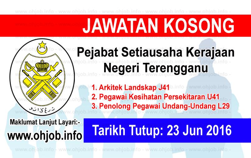 Jawatan Kerja Kosong Pejabat Setiausaha Kerajaan Negeri Terengganu logo www.ohjob.info jun 2016