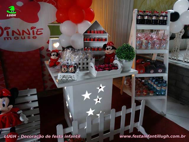 Decoração festa de aniversário infantil tema da Minnie - Mesa decorada provençal