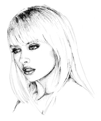 blond girl drawing by Igor Amazonenco