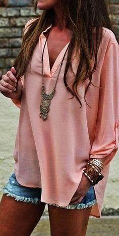 trendy boho outfit idea: blouse + shorts