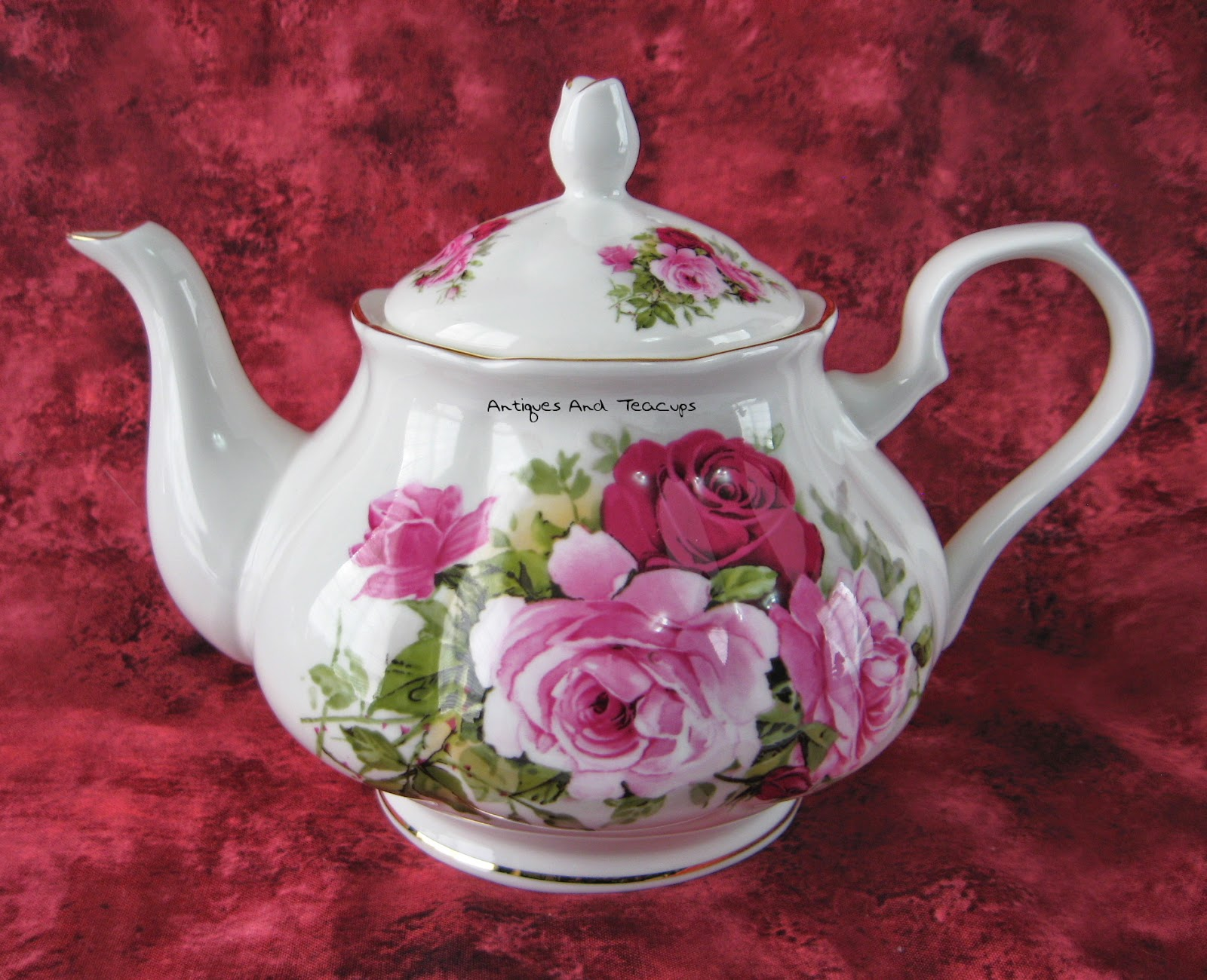 China Teapot Made In Japan White With Glass Bead Decoration