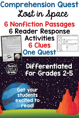 Comprehension Quests are a fun way to practice nonfiction reading passages along with standards aligned reader response activities. You can use this quest to teach your students about space! After each passage, students will earn a clue that gets them one step closer to solving the quest!
