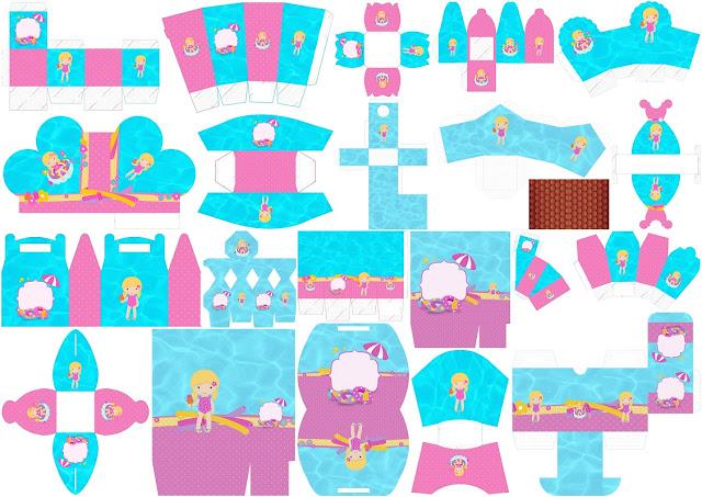 Fiesta en la Piscina para Niña Rubia: Cajas para Imprimir Gratis.