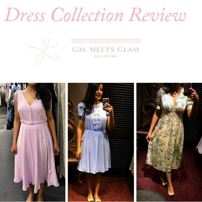 Gal Meets Glam Collection Review, Hillary Dress , Clip Dot Chiffon Midi Dress, Gal Meets Glam Collection Ellie Dress (Crepe Puff Sleeve Dress)  3- Gal Meets Glam Collection Lauren Dress, Botanical Garden Print Midi Dress