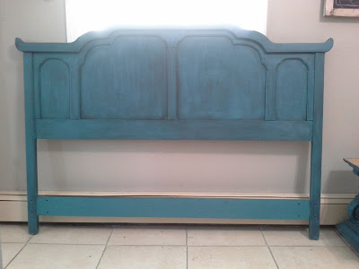 peacock teal blue turquoise black glazed queen headboard