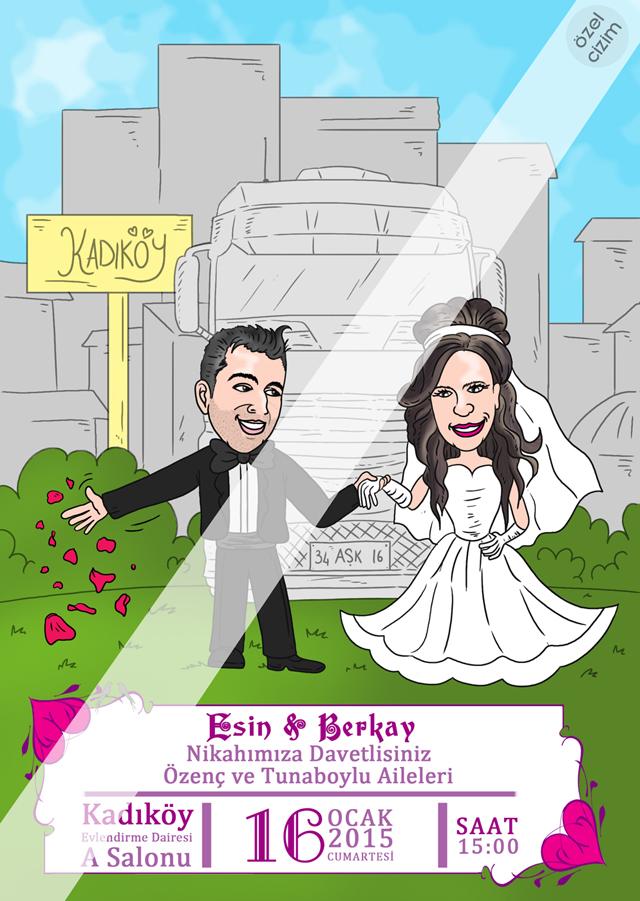 karikatür, düğün davetiyesi, nikah davetiyesi, davetiye, karikatürlü davetiye, davetiye çizdir, davetiye çizdir, özel davetiye, Düğün için çizim, evleniyoruz